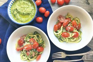 Fresh Zucchini Pasta with Tomatoes and Homemade Pesto