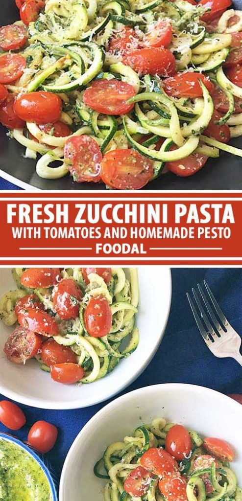 A collage of photos showing different views of a fresh zucchini pesto pasta dish.