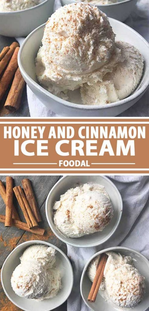 A collage showing different views of a honey and cinnamon ice cream recipe.