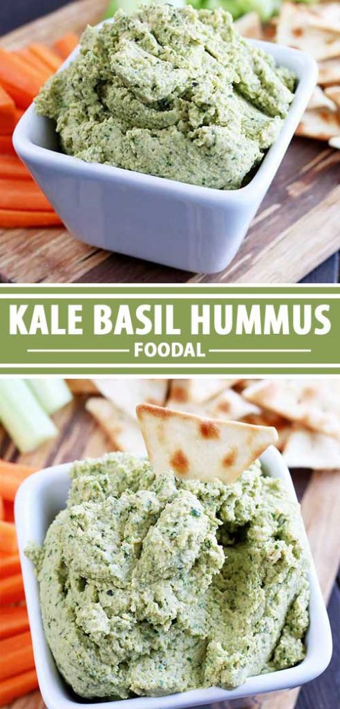 A collage of photos showing a Kale Basil Hummus recipe.