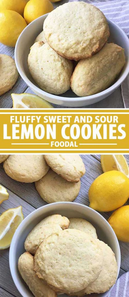 A collage of photos showing different views of a fluffy lemon cookie recipe.