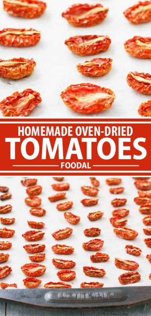 A collage of photos showing different views of oven-dried tomatoes.