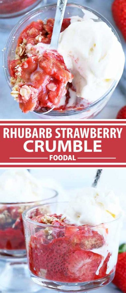 A collage of photos showing different views a a rhubarb strawberry crumble recipe.