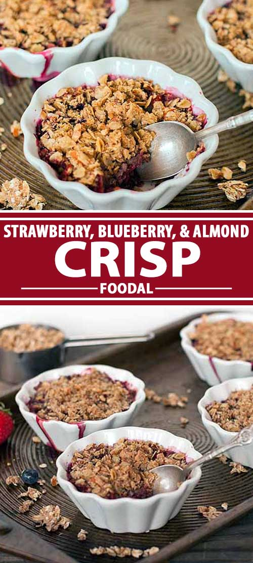 Looking for the perfect dessert to show off the delicious flavor of fresh seasonal berries? This simple blueberry and strawberry fruit crisp is the answer, made with almonds, oats, warming spices, and a dash of maple syrup. Plus, it's easy to adapt to suit vegan and gluten-free diets. Get the recipe now on Foodal.