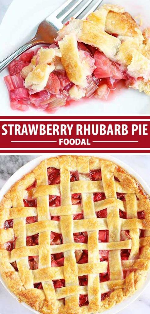 A collage of photos showing different views of a strawberry and rhubarb pie.