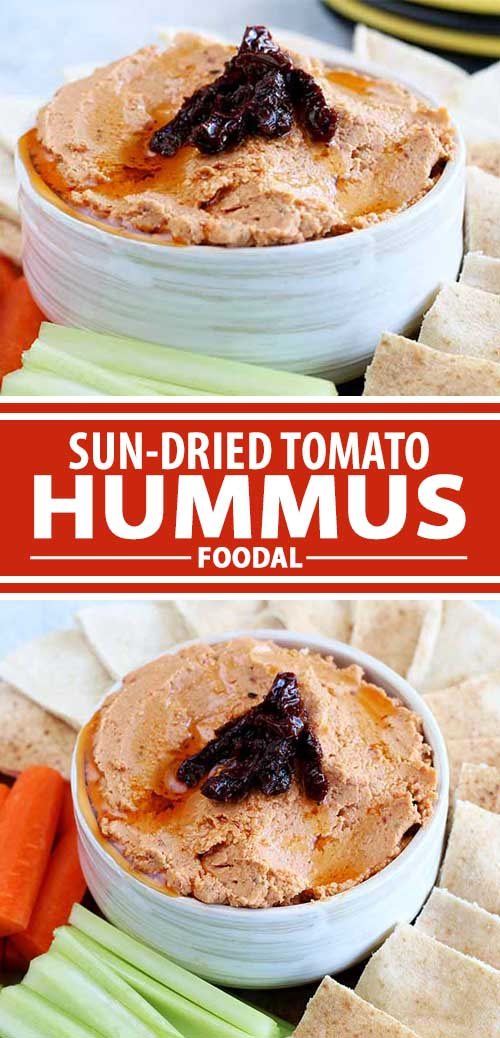 A collage of photos showing different views of a sun-dried tomato hummus recipe.