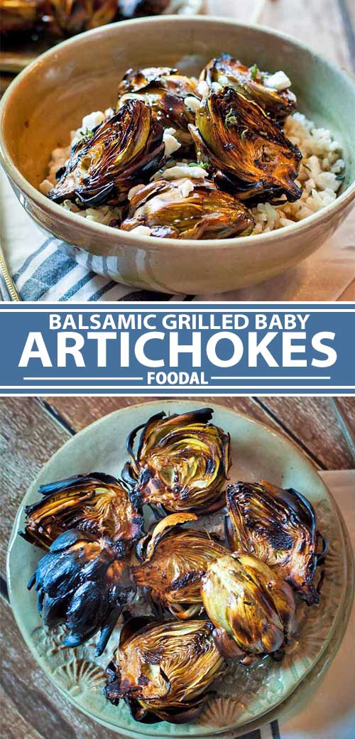 A collage of photos showing a balsamic grilled baby artichokes recipe.