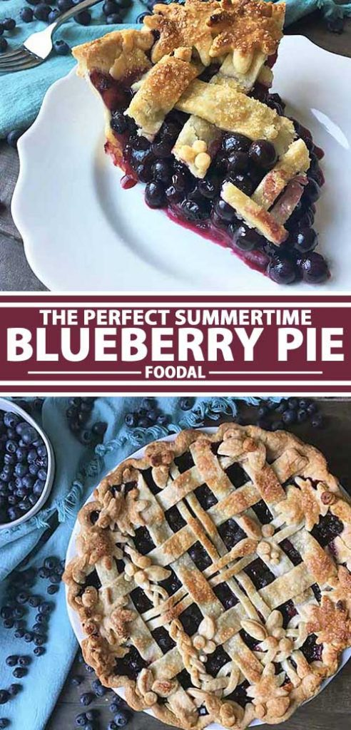 A collage of photos showing different views of a blueberry pie.