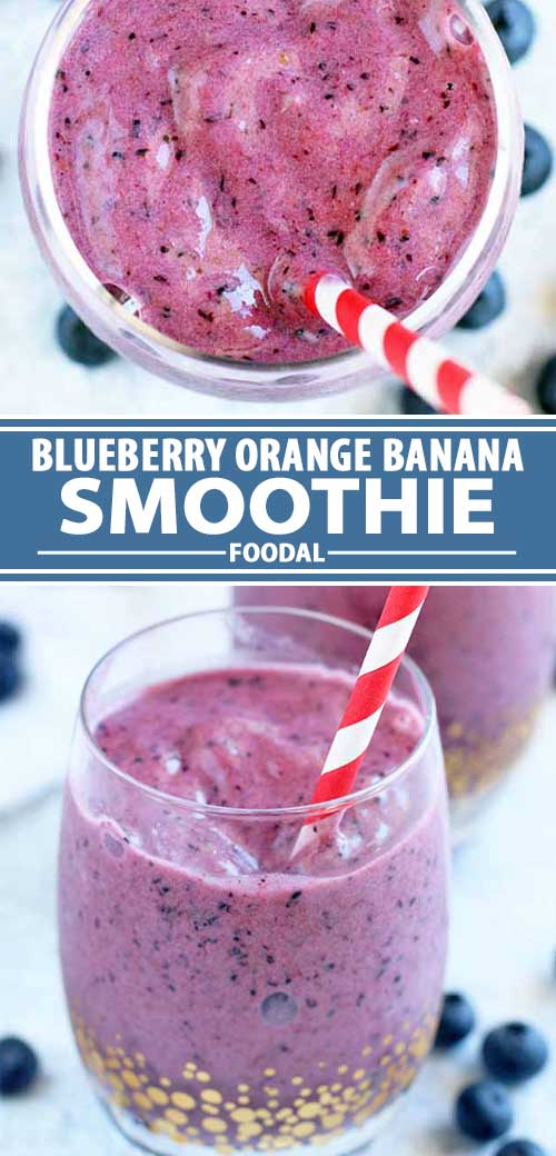 a collage of photos showing different views of blueberry orange banana smoothie recipe.