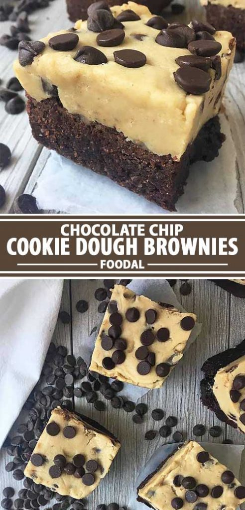 A collage of photos showing different views of a chocolate chip cookie dough recipe.