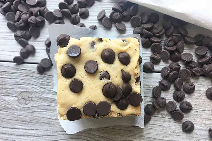 Horizontal image of one dessert bar topped with chocolate chips on a piece of parchment paper surrounded by chocolate chips.