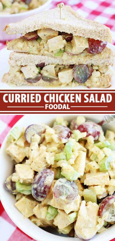 A collage of photos showing different views of a curried chicken salad recipe.