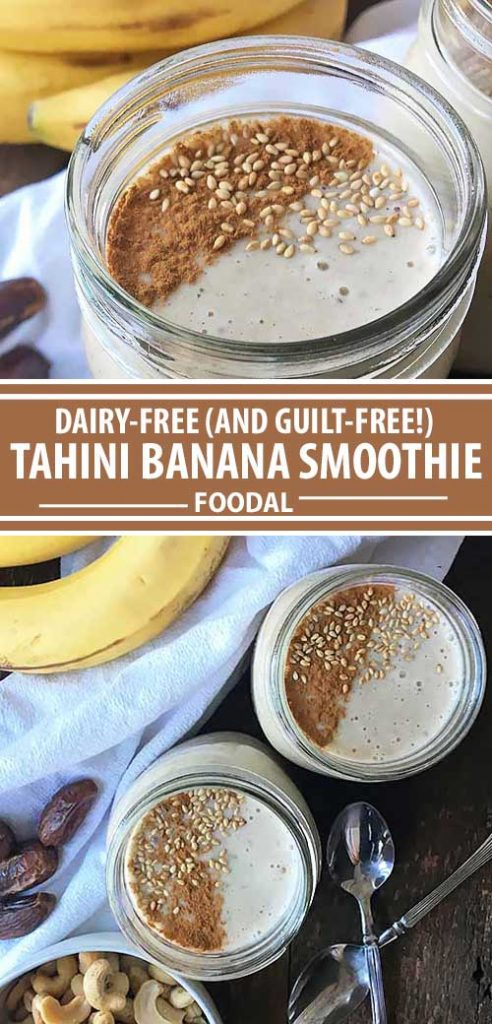 A collage of photos showing different views of a dairy free tahini banana smoothie recipe.