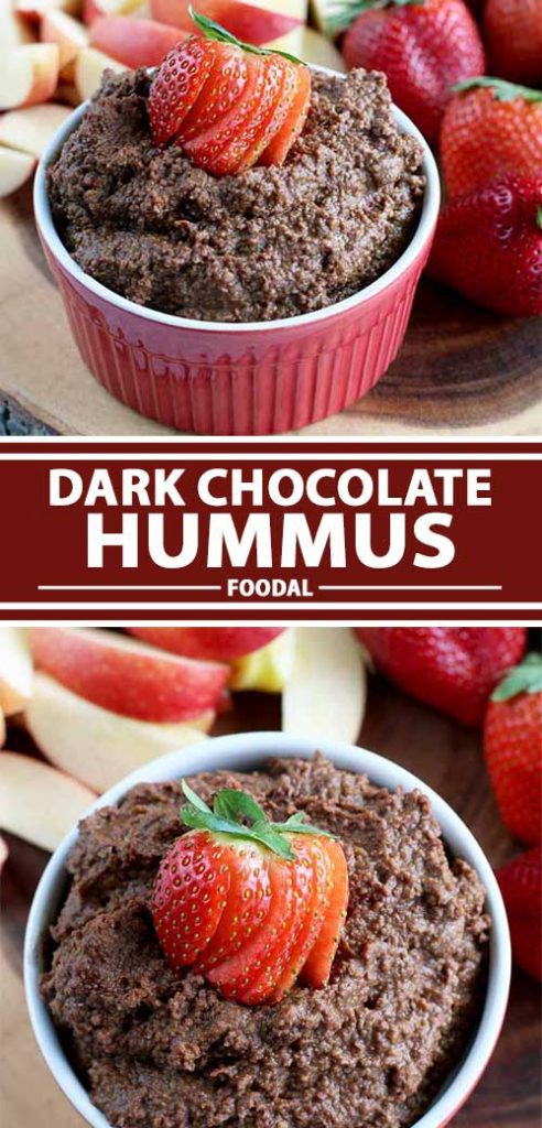A collage of photos showing different views of a completed dark chocolate hummus recipe.