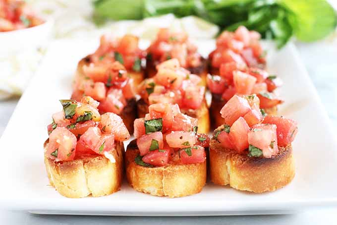 Homemade tomato and basil bruschetta on toasted bread, arranged in rows on a white serving platter, with a small white bowl of chopped tomatoes and a bunch of basil in the background.