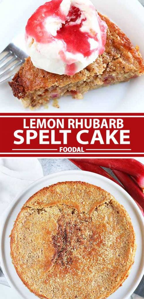 A collage of photos showing different views of a completed lemon rhubarb spelt cake recipe.
