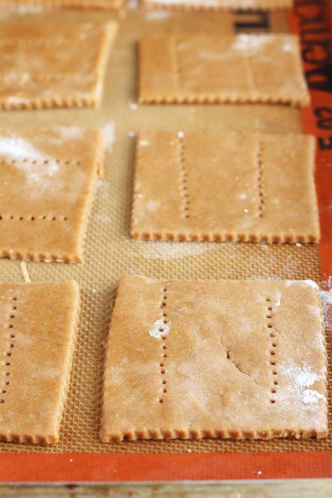 Closeup of six squared of dough rolled thin and cut out with scored edges and pinprick holes in two rows on top of each, on a silicone Silpat pan liner.