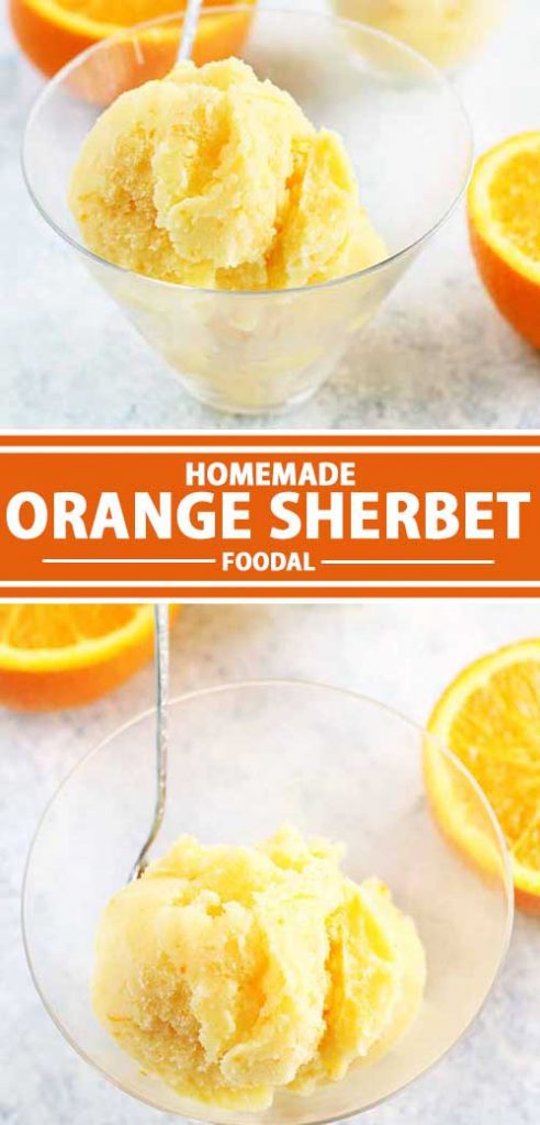 A collage showing different views of a homemade orange sherbet recipe.