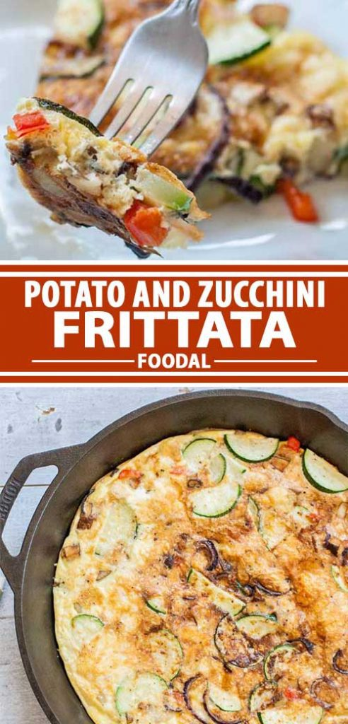 A collage of photos showing different views of a potato zucchini frittata recipe.