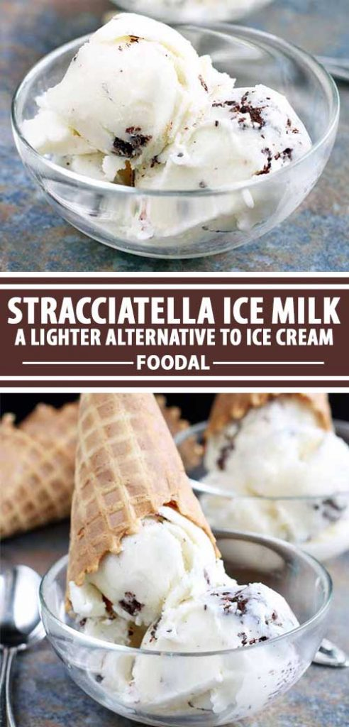 A collage of photos showing different views of a batch of Stracciatella Ice Milk.