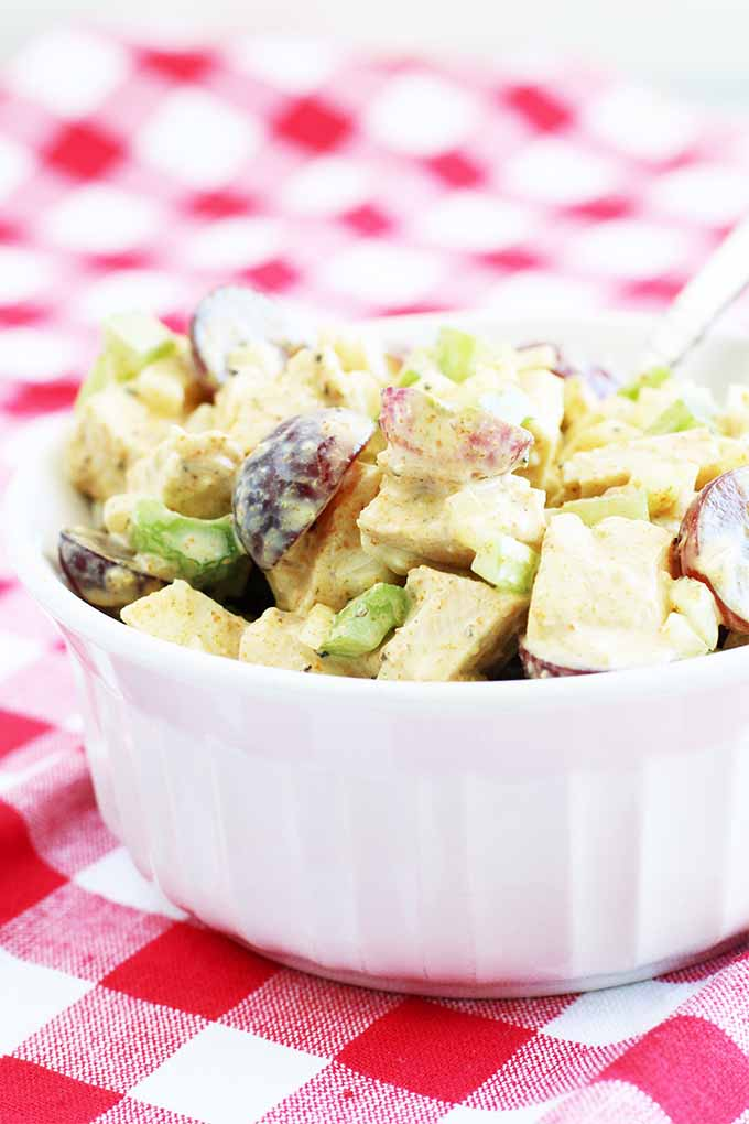 A white ramekin of curried chicken salad on a red and white checkered cloth dissolving in shallow focus into the background.