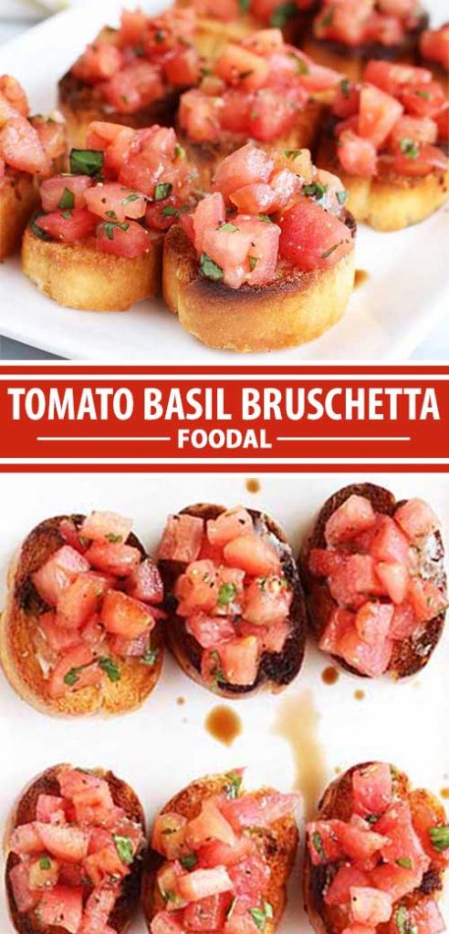 A collage of photos showing different views of a tomato basil bruschetta recipe