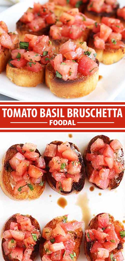The flavors of Italy come together in this classic appetizer recipe. Juicy tomato, fresh basil, and a drizzle of balsamic vinegar combine with flavorful garlic atop crusty bread to form a dish that you will never get sick of making for family and friends. Read more now on Foodal to learn how to make bruschetta at home. #bruschetta #healthysnack #italianreicpe #tomatoes