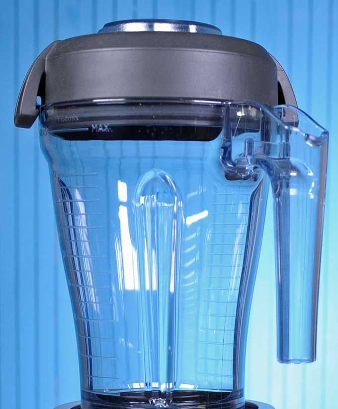 The 40-ounce traditional blender container found on the Vitamix S55 base on a medium blue background.