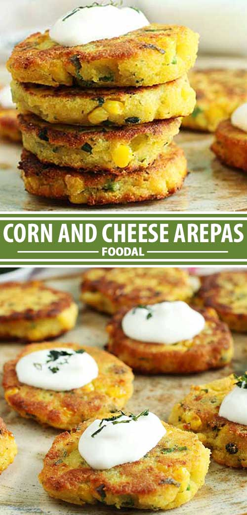 A collage of images from a corn and cheese arepa recipe.