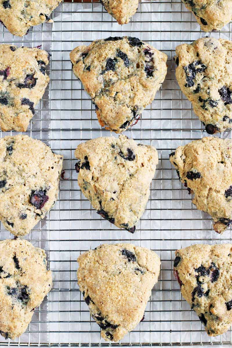 Top-down shot of twelve blueberry scones arranged in four rows on a wire cooling rack, on top of a piece of white parchment paper.