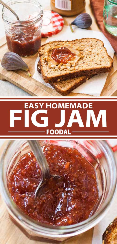 A collage of photos showing homemade fig jam in the jar and being spread onto a peanut butter and jelly sandwich.