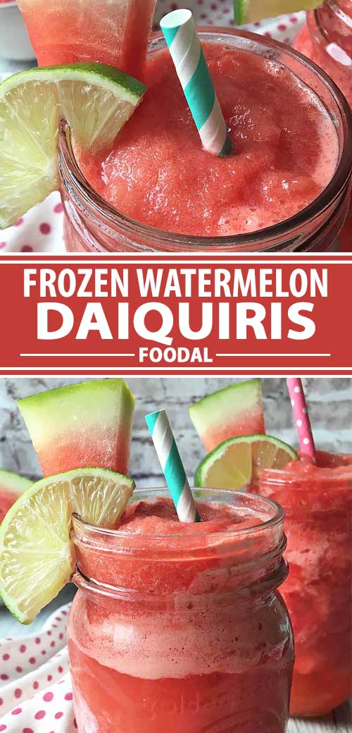 A collage of photos showing different views of frozen watermelon Daiquiri recipe.