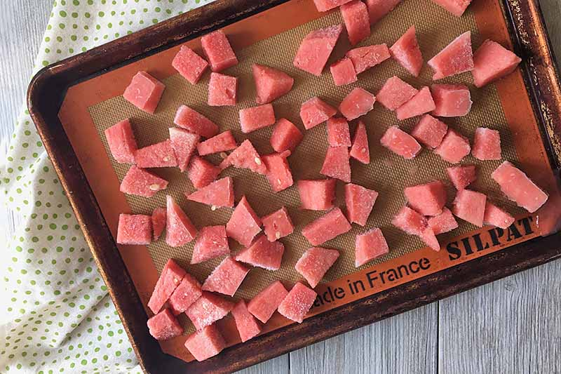 Horizontal image of a tray of frozen watermelon cubes with a spotted napkin.