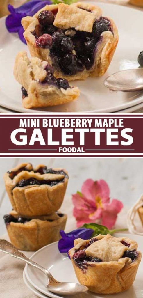 A collage of photos showing different views of mini blueberry maple gallete recipe.