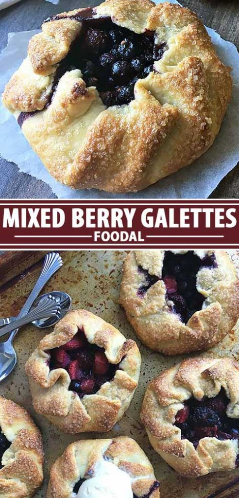 A collage of photos showing a mixed berry galette recipe.