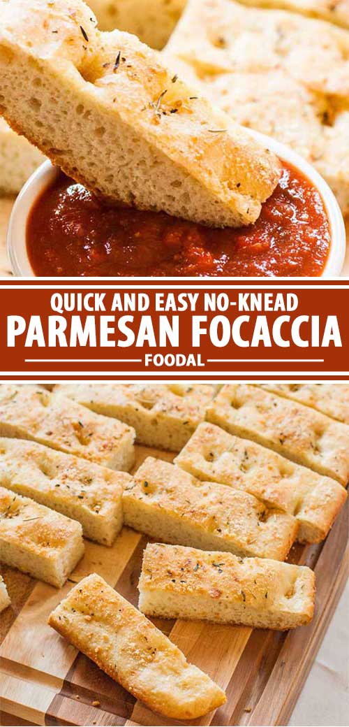 A collage of photos showing different views of a Parmesan focaccia recipe
