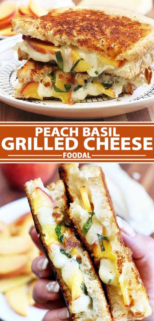 A collage of photos showing different views of a peach basil grilled cheese sandwich recipe.