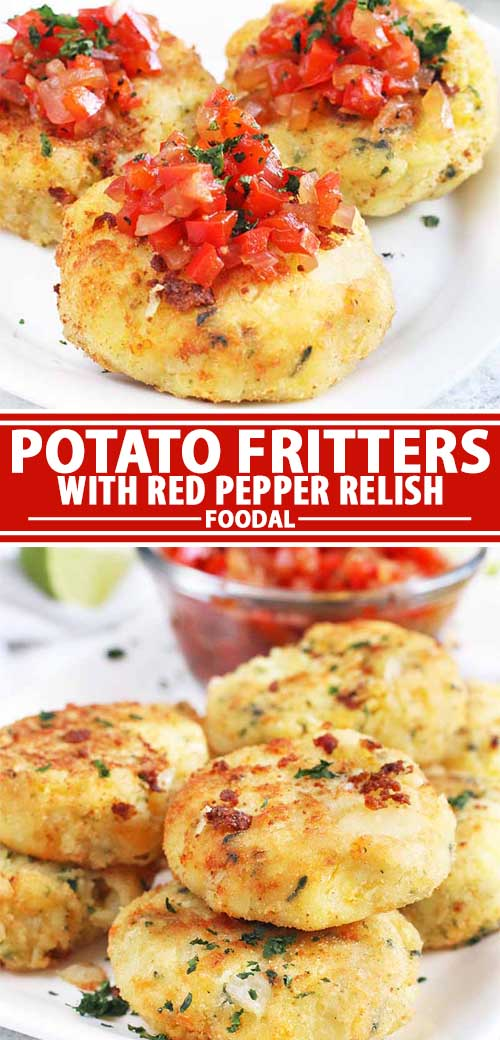 A collage of photos showing different views of potato fritter recipe with red pepper relish.