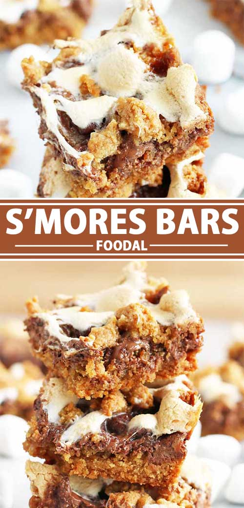 A collage of photos showing different views of a s'mores bar recipe.