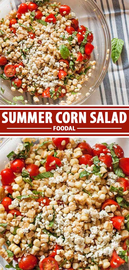 A collage of photos showing different views of a summer corn salad recipe.
