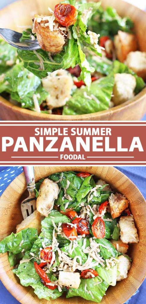 A collage of photos showing a recipe for a simple summer panzanella recipe.