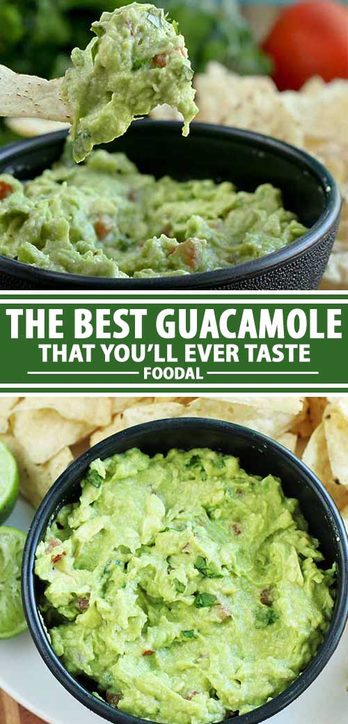 A collage of photos showing different views of a tasty guacamole recipe.