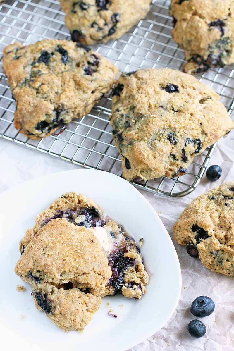 Vertical top-down image of a blueberry scone with butter on a white plate beside a cooling rack topped with more of the baked goods, on a piece of parchment paper with scattered berries.