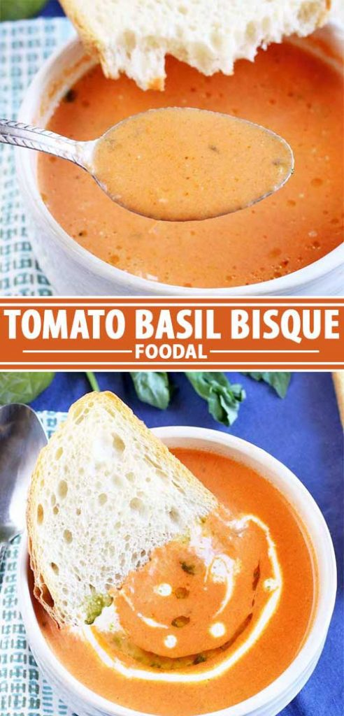 A collage of photos showing different views of tomato basil bisque recipe.