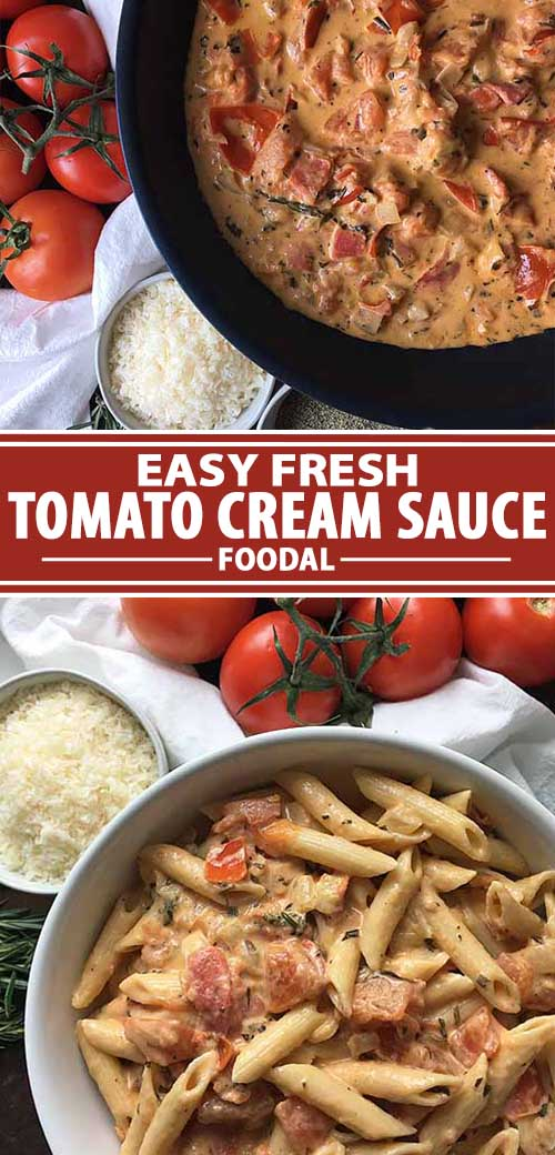 A collage of photos showing an easy and fast tomato cream sauce recipe.