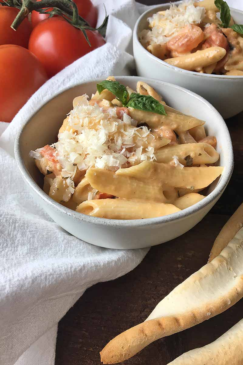 Vertical closeup image of a bowl of penne with sauce, basil, and cheese.