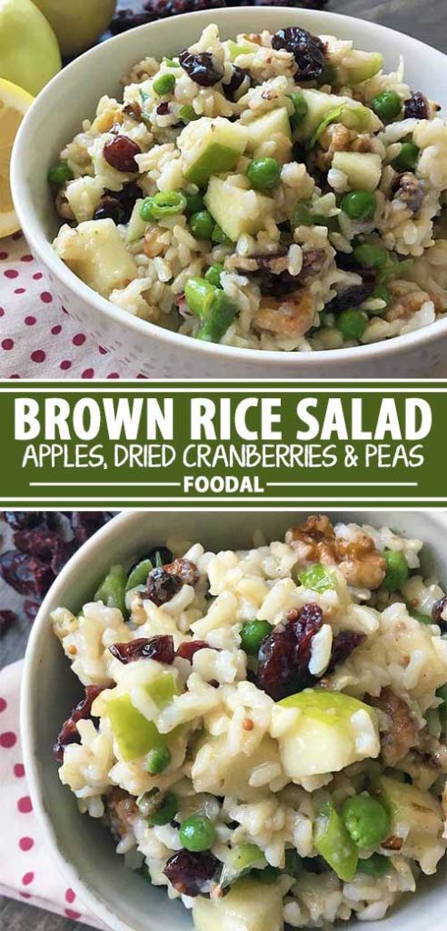 A collage of photos showing different views of a brown rice salad recipe.