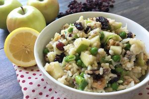 Brown Rice Salad With Apples, Dried Cranberries, and Peas