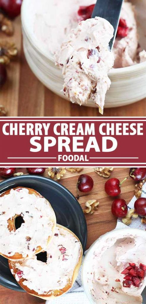 A collage of photos showing a cherry cream cheese spread recipe.