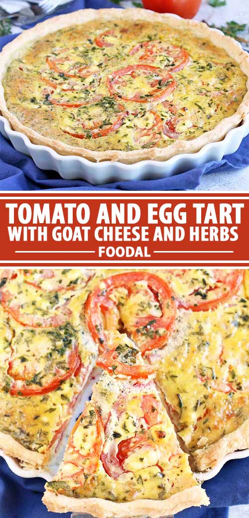 A collage of photos showing different views of a fresh tomato and egg tart with tangy goat cheese and herbs recipe.